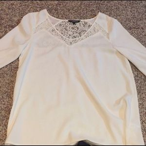 Beautiful white/off-white lace Express top